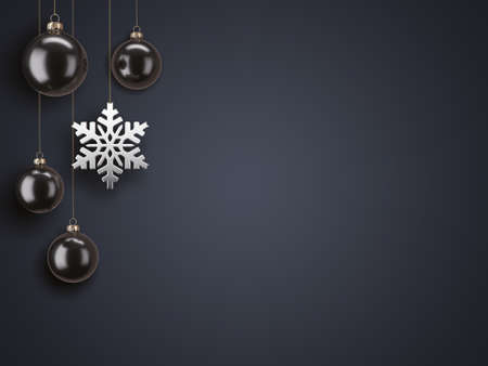 3D Rendering Christmas Card with Baubles and Snowflake Stok Fotoğraf
