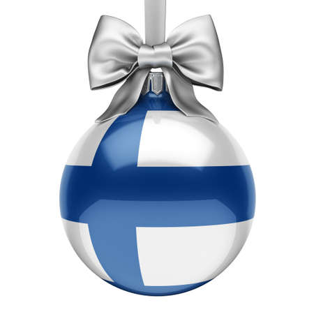 3D rendering Christmas ball decorated with the flag of Finland Фото со стока