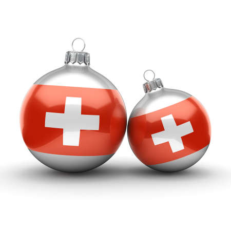 3D rendering Christmas ball decorated with the flag of Switzerland