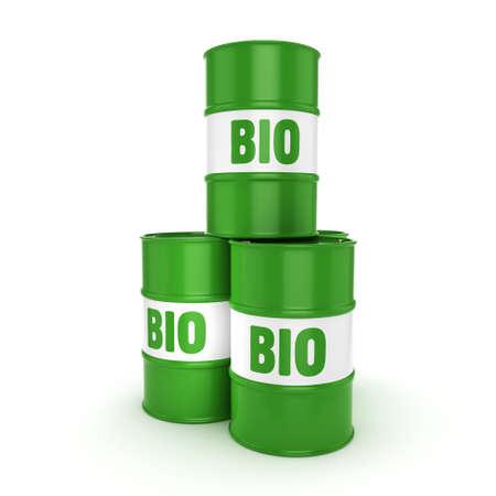 3D rendering green barrels for biofuels with lettering Stok Fotoğraf