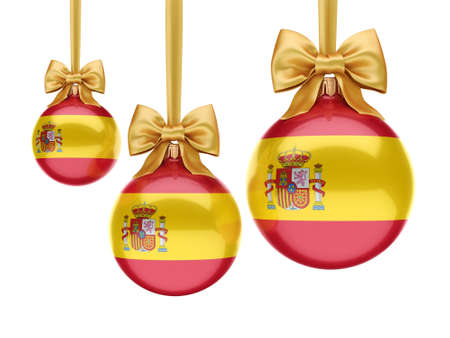 3D rendering Christmas ball decorated with the flag of Spain Фото со стока