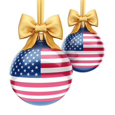 3D rendering Christmas ball decorated with the flag of USA