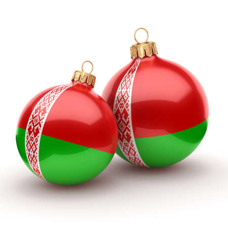 3D rendering Christmas ball decorated with the flag of Belarus Фото со стока
