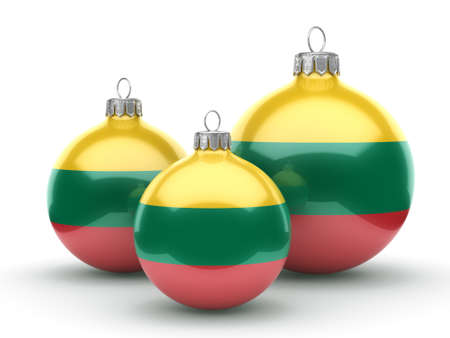 3D rendering Christmas ball decorated with the flag of Lithuania Reklamní fotografie