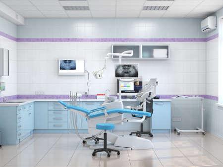 3D rendering modern dentists office in light colors Banco de Imagens
