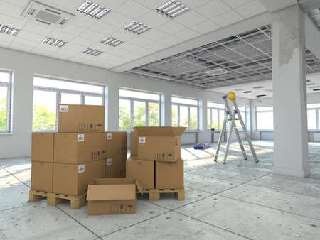 3D rendering room in the process of repair