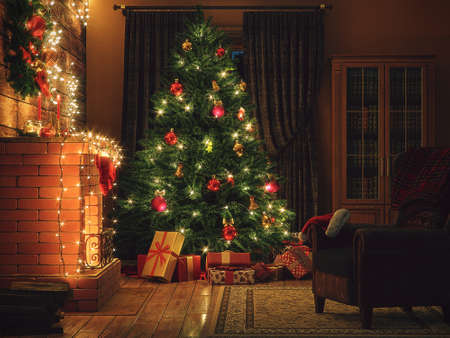 3D Rendering Christmas interior in night colors