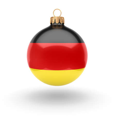 3D rendering Christmas ball decorated with the flag of Germany Reklamní fotografie