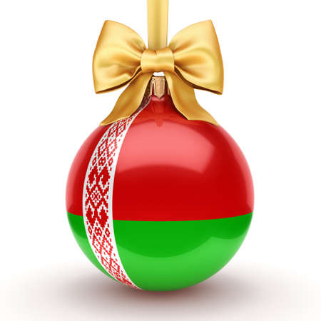 3D rendering Christmas ball decorated with the flag of Belarus Reklamní fotografie