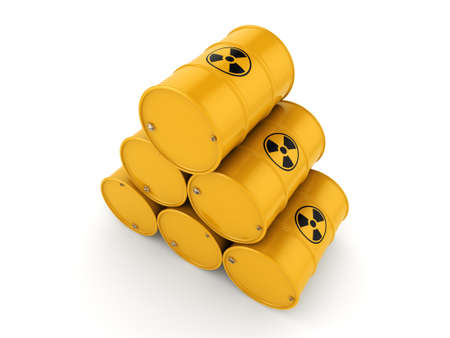 3D rendering yellow barrels with radioactive materials 写真素材