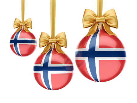 3D rendering Christmas ball decorated with the flag of Norway Stok Fotoğraf