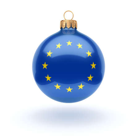 3D rendering Christmas ball decorated with the flag of European union 写真素材