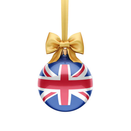 3D rendering Christmas ball decorated with the flag of Great Britain