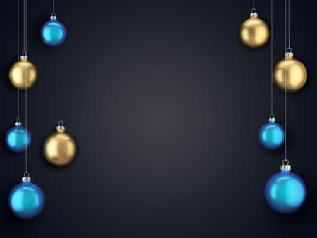 3D Rendering Christmas Card with Christmas Balls