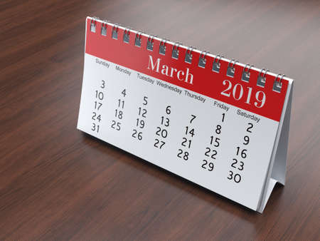 3D rendering flipchart desktop calendar for 2019 year