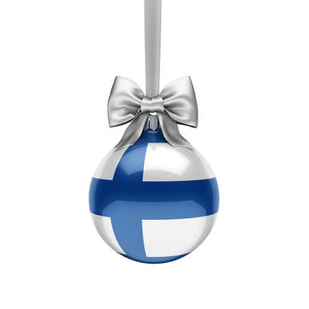 3D rendering Christmas ball decorated with the flag of Finland 版權商用圖片