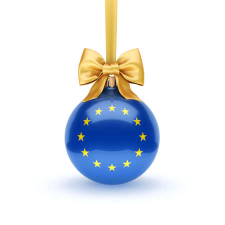 3D rendering Christmas ball decorated with the flag of European union 版權商用圖片