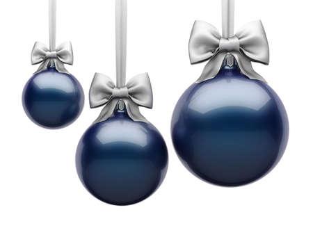 3D Rendering Dark Blue Christmas Ball on White Background