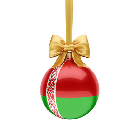 3D rendering Christmas ball decorated with the flag of Belarus 版權商用圖片