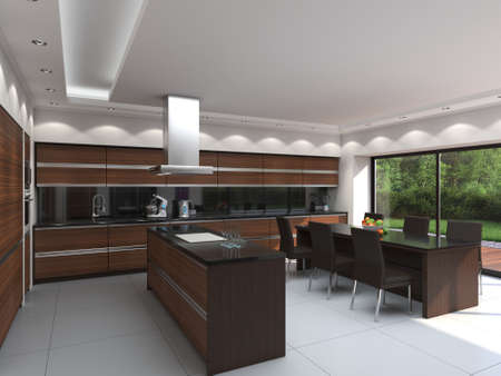 3D rendering modern kitchen with wooden panels Stok Fotoğraf - 133495346