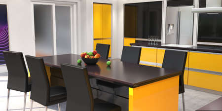 3D rendering modern kitchen with yellow panels Stok Fotoğraf - 133495425