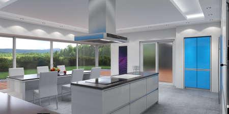 3D rendering modern kitchen with blue panels Stok Fotoğraf - 133661169