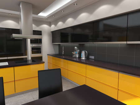 3D rendering modern kitchen with yellow panels Stok Fotoğraf - 133661185