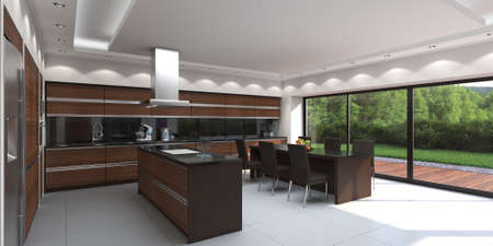 3D rendering modern kitchen with wooden panels