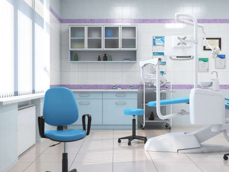 3D rendering modern dentists office in light colors Stock Photo
