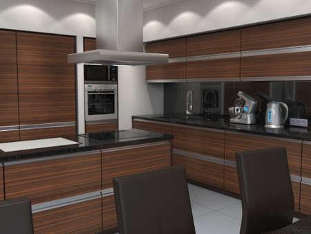 3D rendering modern kitchen with wooden panels Standard-Bild - 133661264