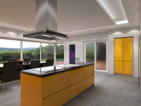 3D rendering modern kitchen with yellow panels Standard-Bild - 133661267