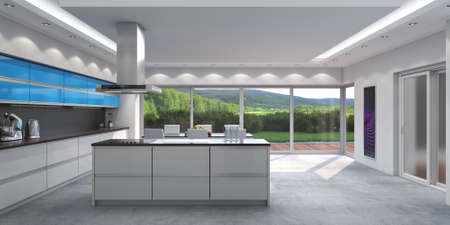 3D rendering modern kitchen with blue panels Standard-Bild - 133661271