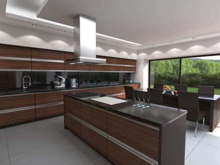 3D rendering modern kitchen with wooden panels Standard-Bild - 133661276