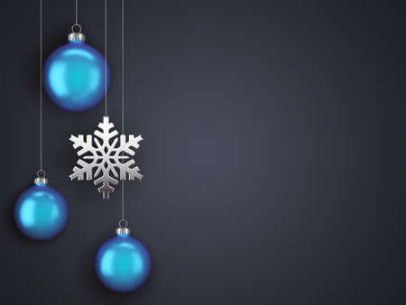 3D Rendering Christmas Card with Baubles and Snowflake Zdjęcie Seryjne