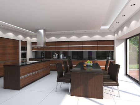 3D rendering modern kitchen with wooden panels Standard-Bild - 133661359