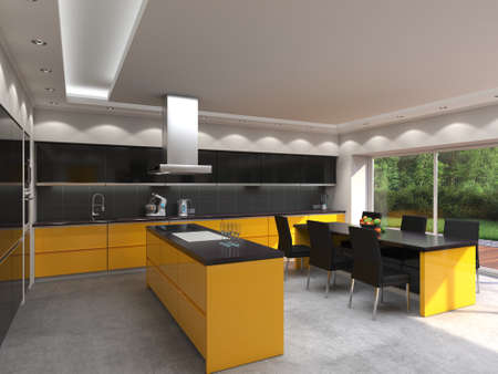 3D rendering modern kitchen with yellow panels Stok Fotoğraf - 133661366