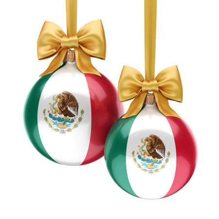 3D rendering Christmas ball decorated with the flag of Mexico