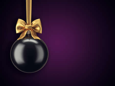 3D Rendering Christmas ball on a dark background without inscriptions