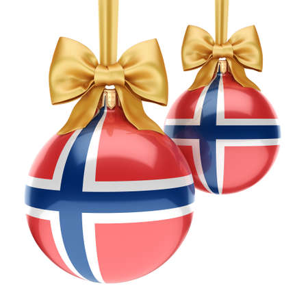 3D rendering Christmas ball decorated with the flag of Norway Zdjęcie Seryjne