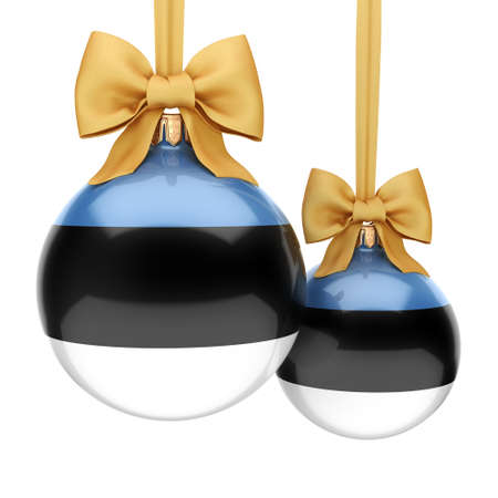 3D rendering Christmas ball decorated with the flag of Estonia