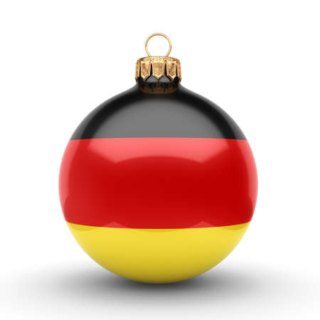 3D rendering Christmas ball decorated with the flag of Germany Stok Fotoğraf