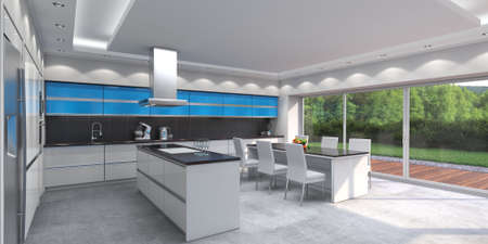 3D rendering modern kitchen with blue panels Stok Fotoğraf - 133661415