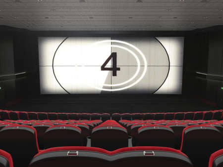 3D rendering modern cinema with subdued light and red chairs