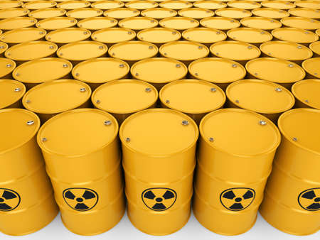 3D rendering yellow barrels with radioactive materials Stok Fotoğraf
