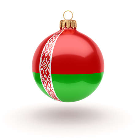 3D rendering Christmas ball decorated with the flag of Belarus Stok Fotoğraf