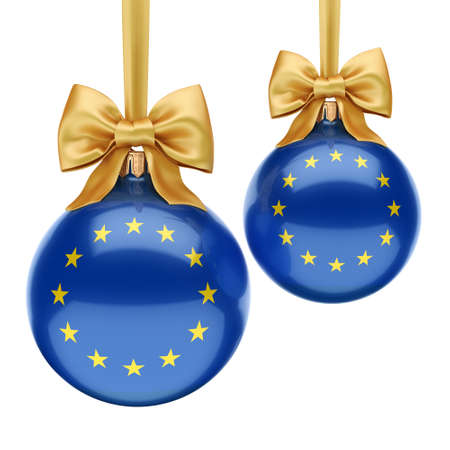 3D rendering Christmas ball decorated with the flag of European union Stok Fotoğraf