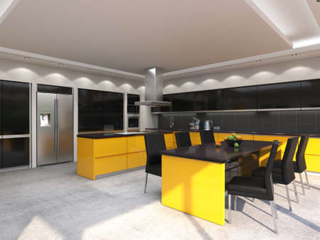 3D rendering modern kitchen with yellow panels