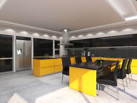 3D rendering modern kitchen with yellow panels Standard-Bild - 133661455