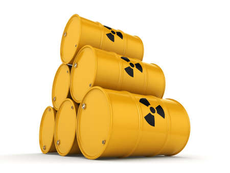 3D rendering yellow barrels with radioactive materials Imagens