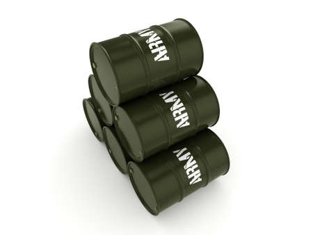 3D rendering several army khaki barrels with the inscription